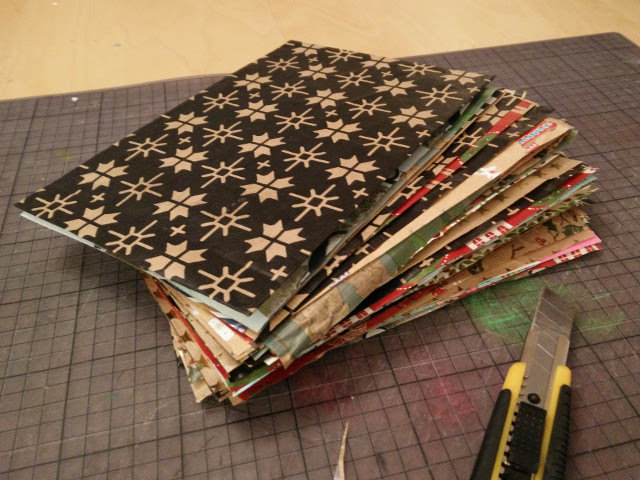 Christmas photo album made from recycled wrapping paper 09
