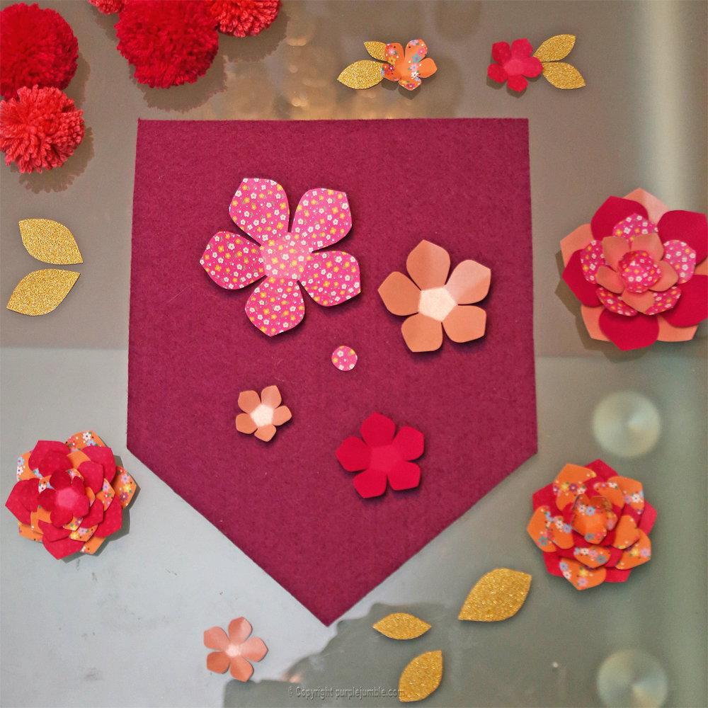 Banniere feutrine fleurs papier pompons 10