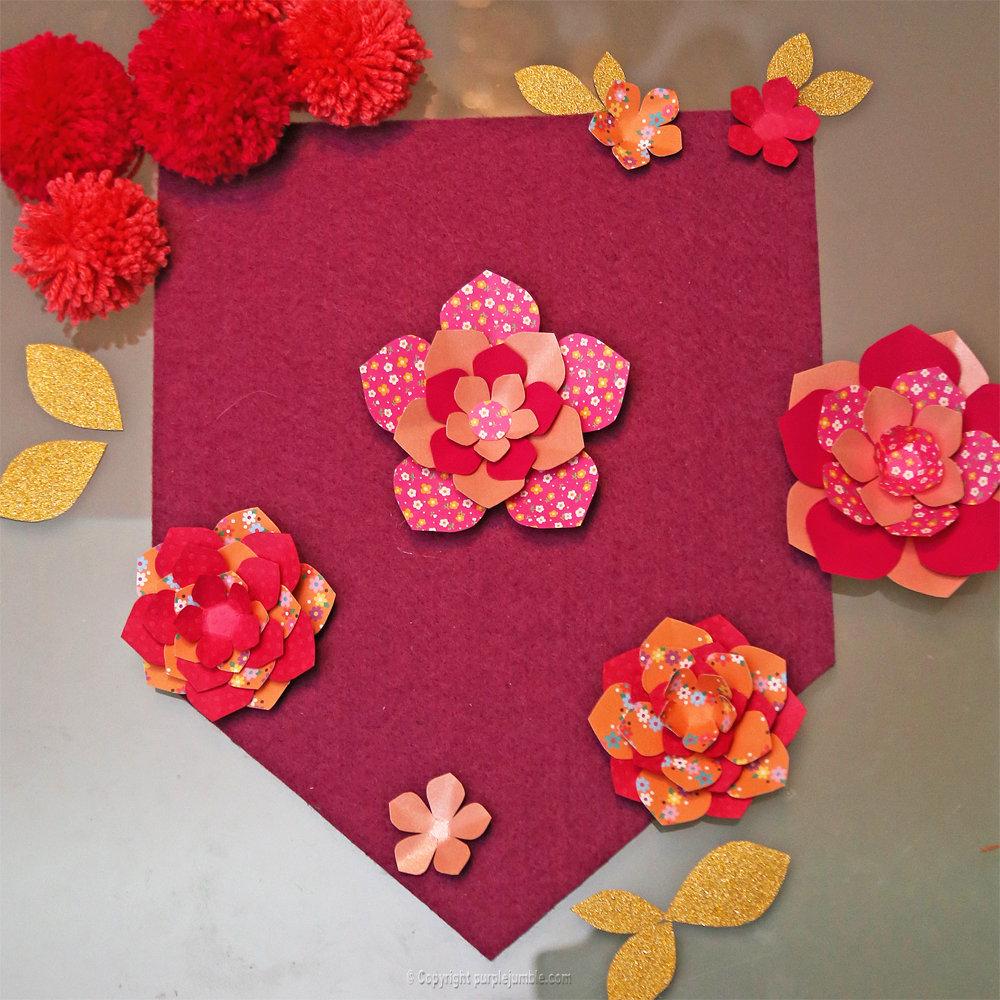 Banniere feutrine fleurs papier pompons 11