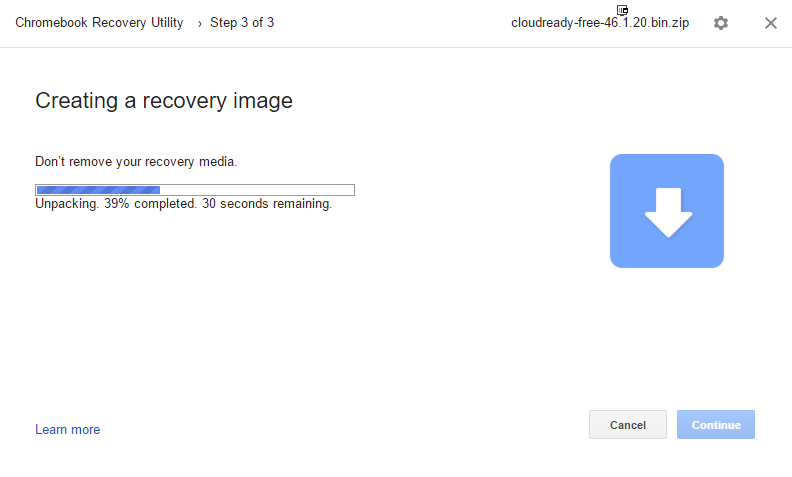 Chrome recorvery utiliti en fonctionnement