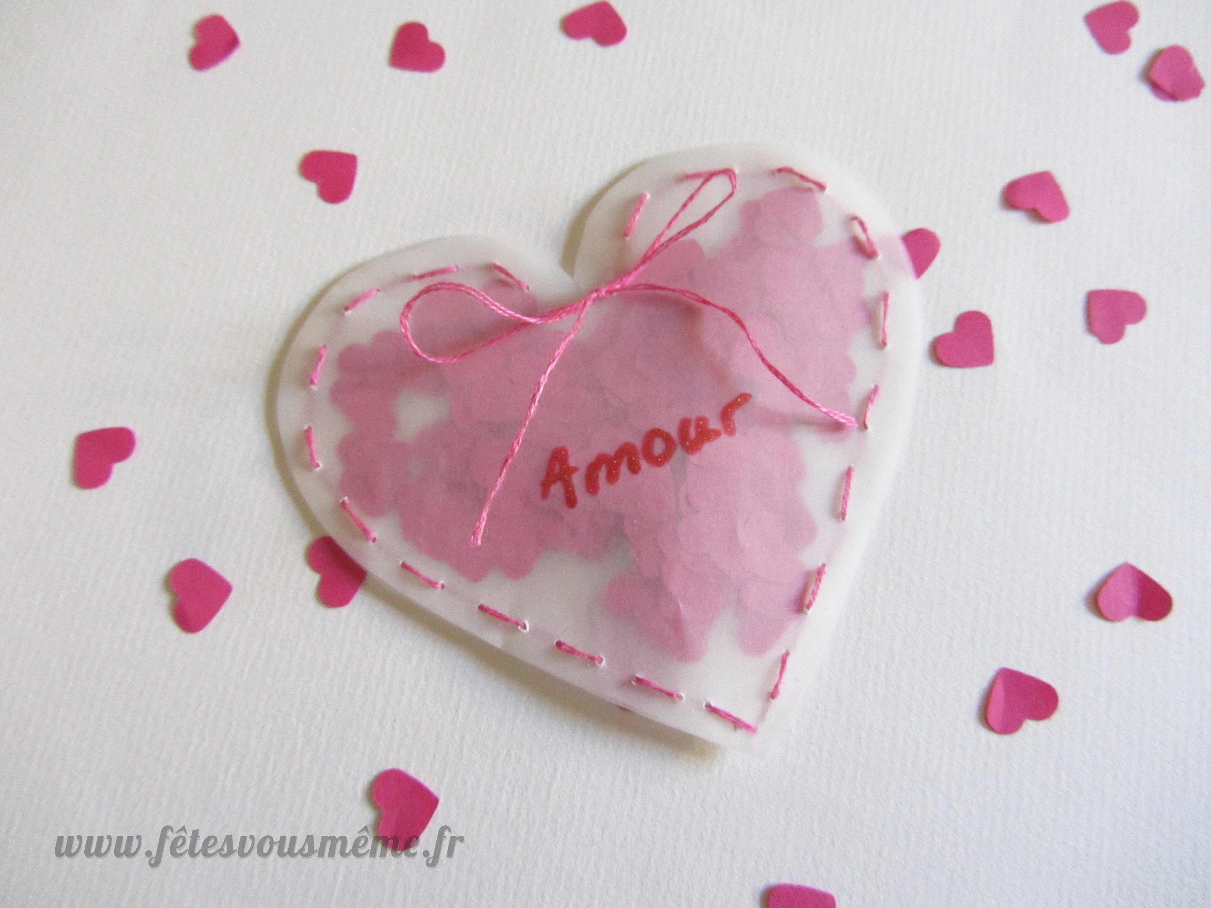 Pochette coeur confettis