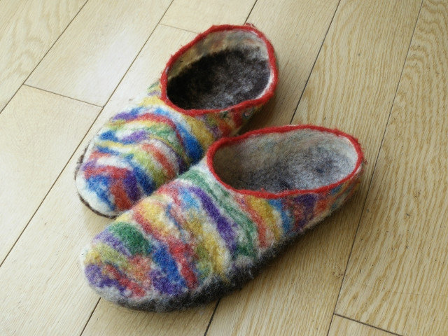 Hand felted slippers 17