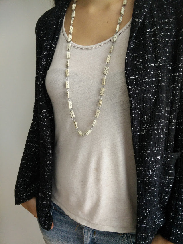 Necklace made from paper clips and recycled paper 21
