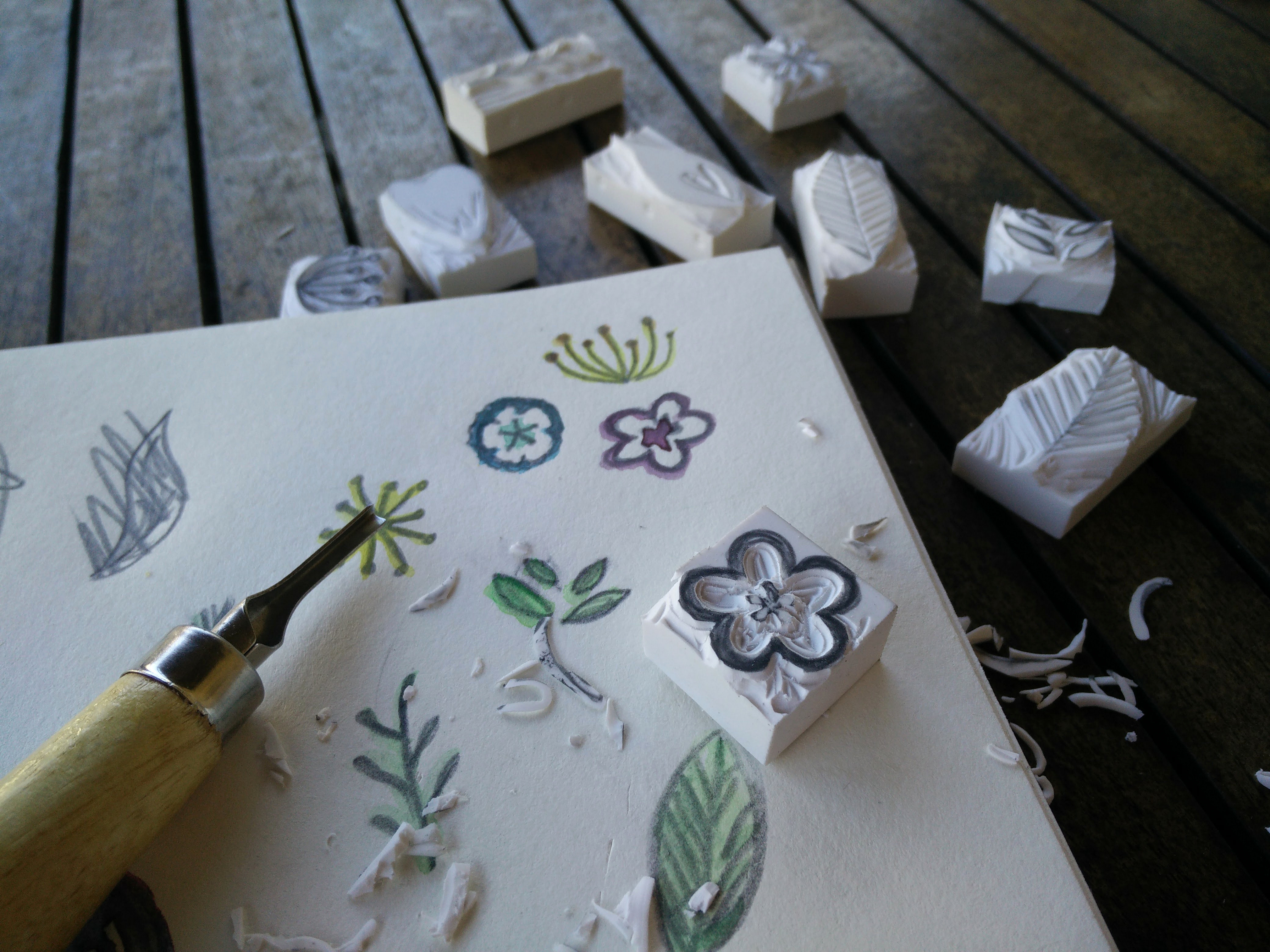 Hand carved rubber stamps 06