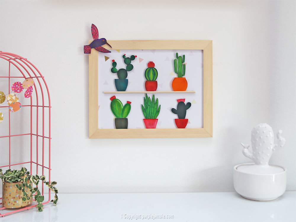 tutoriel diy un cadre de cactus en plastique dingue. Black Bedroom Furniture Sets. Home Design Ideas
