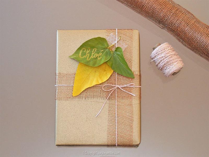 Diy paquet cadeau nature 9