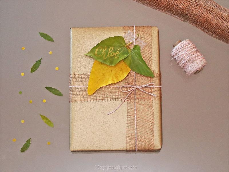 Diy paquet cadeau nature 11