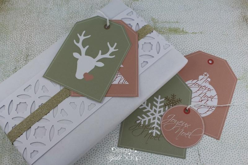 01 1 yal%c3%a9 scrap diy emballage cadeau blanc %c3%a9tiquettes no%c3%abl rose vert