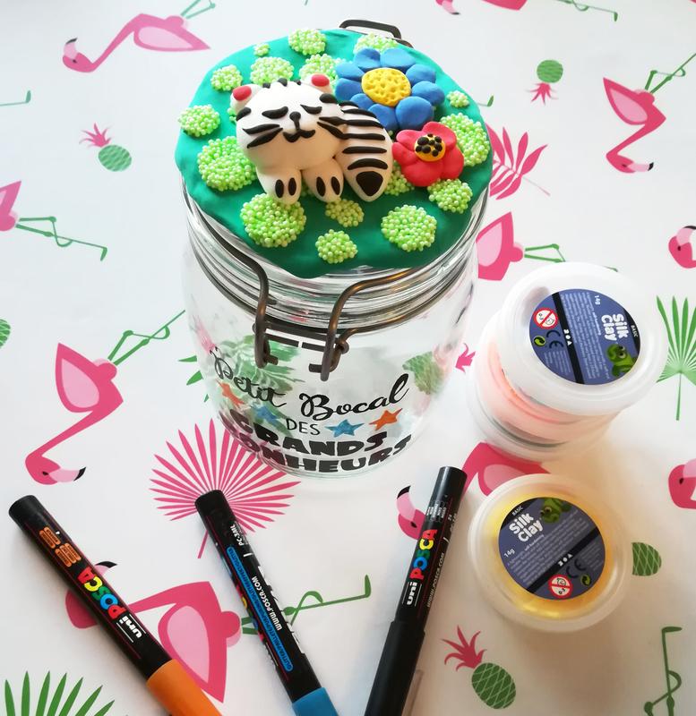 Diy bocal bonheurs fimo chat fleur happiness jar tutoriel