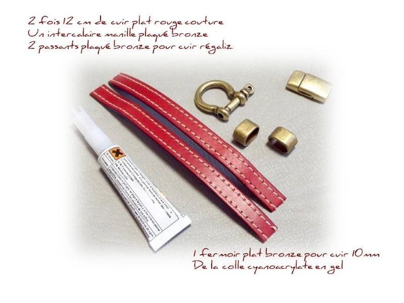 Fournitures bracelet cuir coutures rouge manille bronze 1405